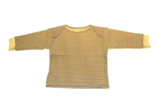 b3adadbf33e Økologisk jersey Bluse olivenfarvet med striber · Økologisk 100 % bomuld