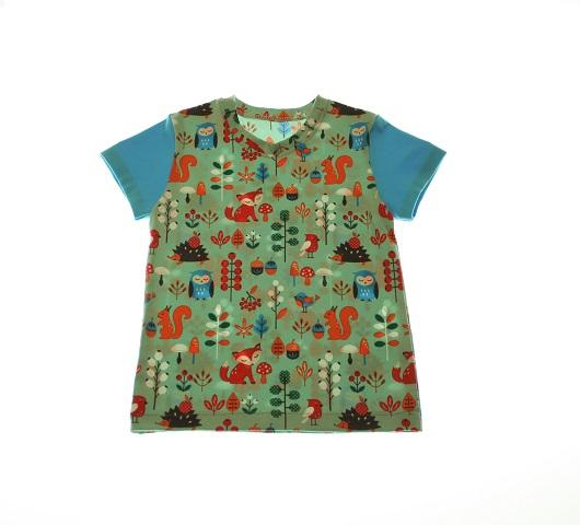Økologisk t shirt med ræve og dyr